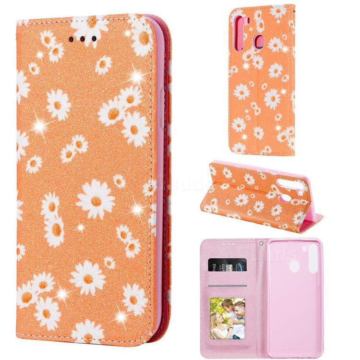 Ultra Slim Daisy Sparkle Glitter Powder Magnetic Leather Wallet Case for Samsung Galaxy A21 - Orange