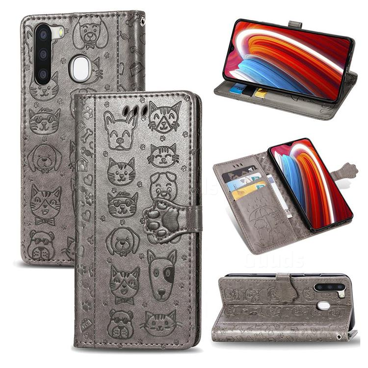 Embossing Dog Paw Kitten and Puppy Leather Wallet Case for Samsung Galaxy A21 - Gray