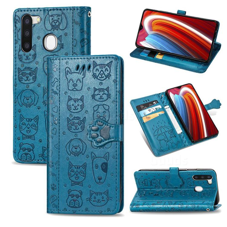 Embossing Dog Paw Kitten and Puppy Leather Wallet Case for Samsung Galaxy A21 - Blue