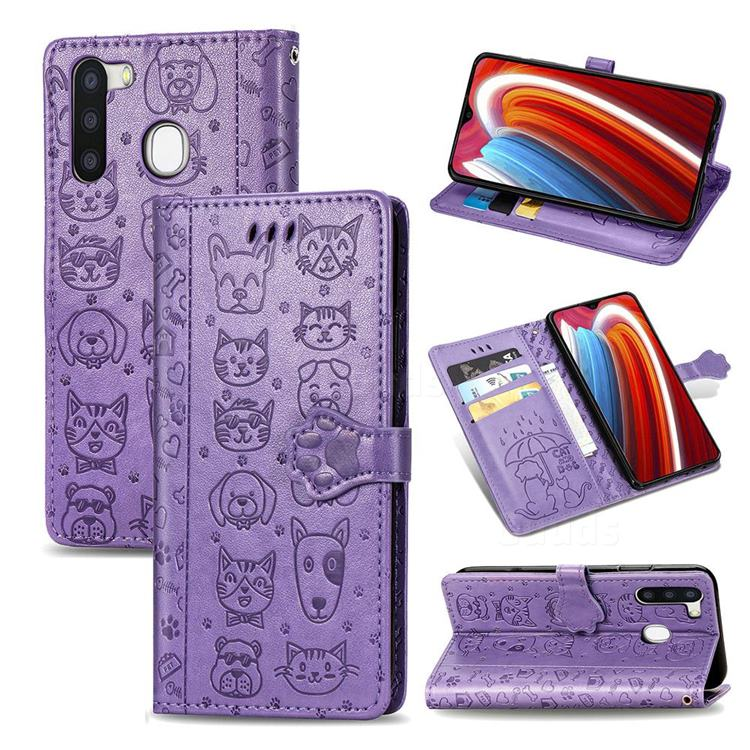 Embossing Dog Paw Kitten and Puppy Leather Wallet Case for Samsung Galaxy A21 - Purple