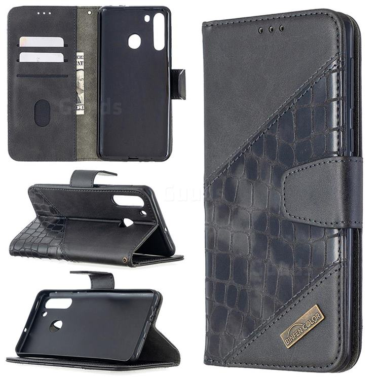 BinfenColor BF04 Color Block Stitching Crocodile Leather Case Cover for Samsung Galaxy A21 - Black