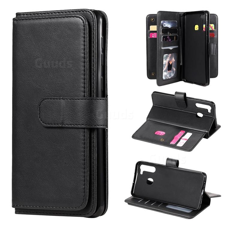 Multi-function Ten Card Slots and Photo Frame PU Leather Wallet Phone Case Cover for Samsung Galaxy A21 - Black