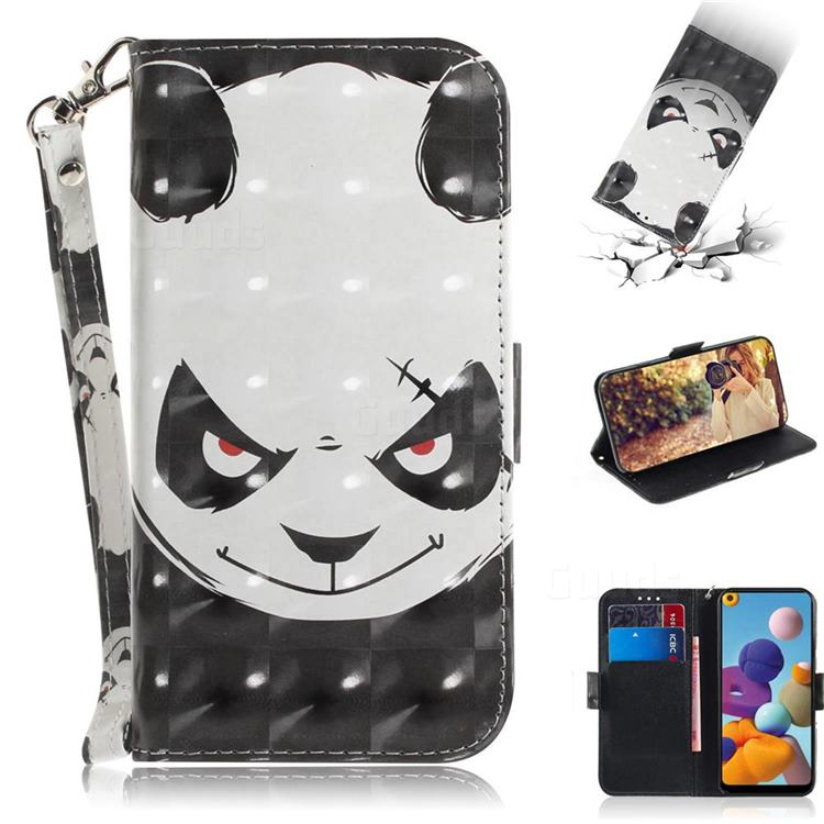 Angry Bear 3D Painted Leather Wallet Phone Case for Samsung Galaxy A21