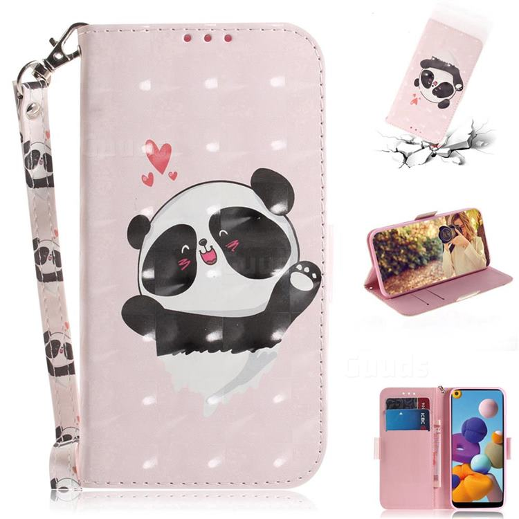 Heart Cat 3D Painted Leather Wallet Phone Case for Samsung Galaxy A21
