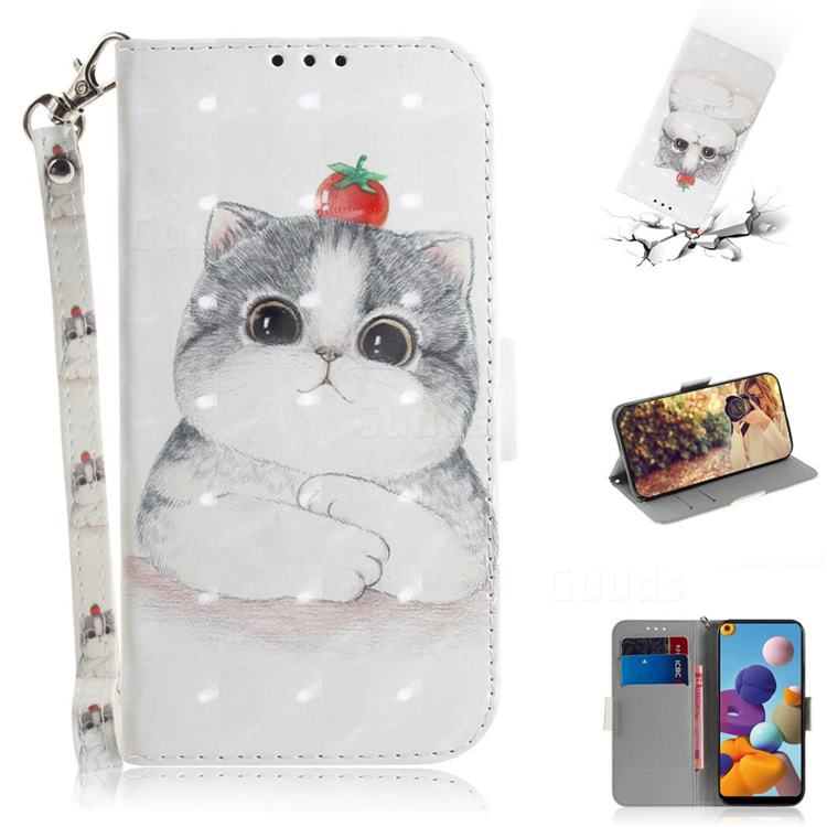 Cute Tomato Cat 3D Painted Leather Wallet Phone Case for Samsung Galaxy A21