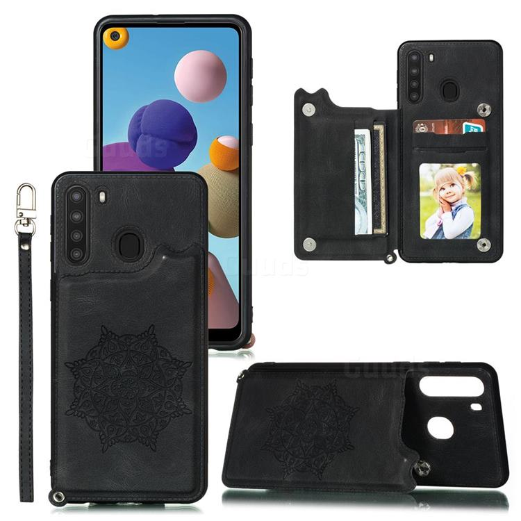 Luxury Mandala Multi-function Magnetic Card Slots Stand Leather Back Cover for Samsung Galaxy A21 - Black