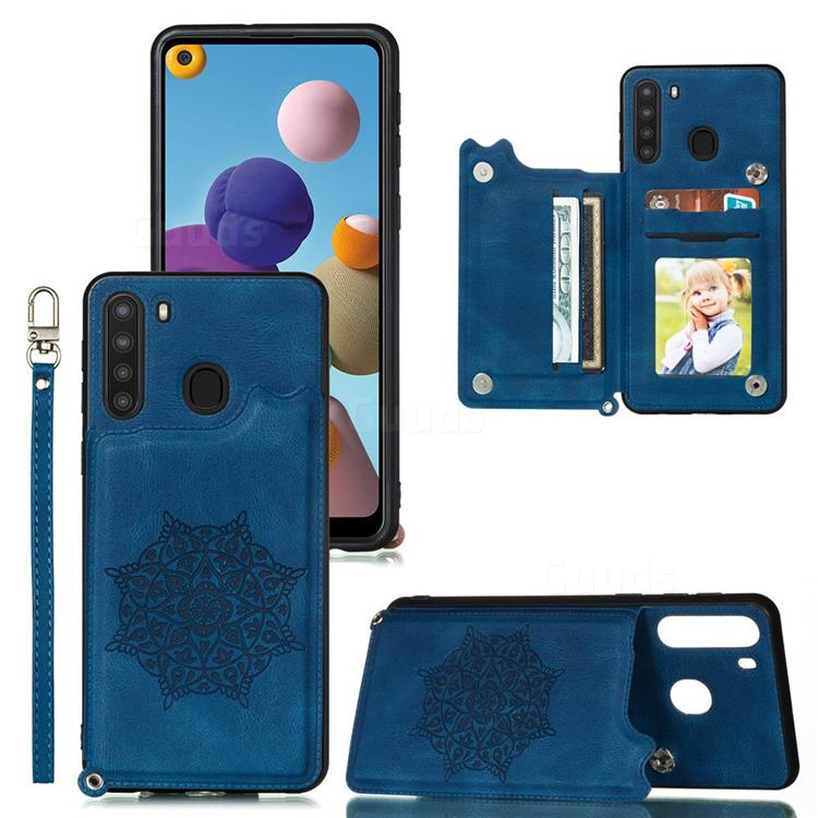 Luxury Mandala Multi-function Magnetic Card Slots Stand Leather Back Cover for Samsung Galaxy A21 - Blue