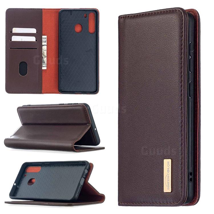 Binfen Color BF06 Luxury Classic Genuine Leather Detachable Magnet Holster Cover for Samsung Galaxy A21 - Dark Brown
