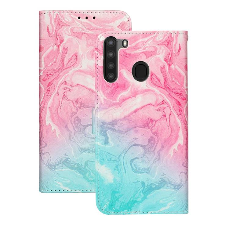 Pink Green Marble PU Leather Wallet Case for Samsung Galaxy A21