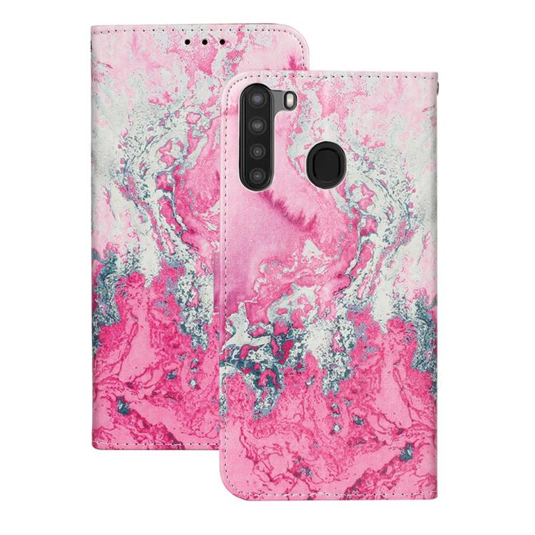 Pink Seawater PU Leather Wallet Case for Samsung Galaxy A21