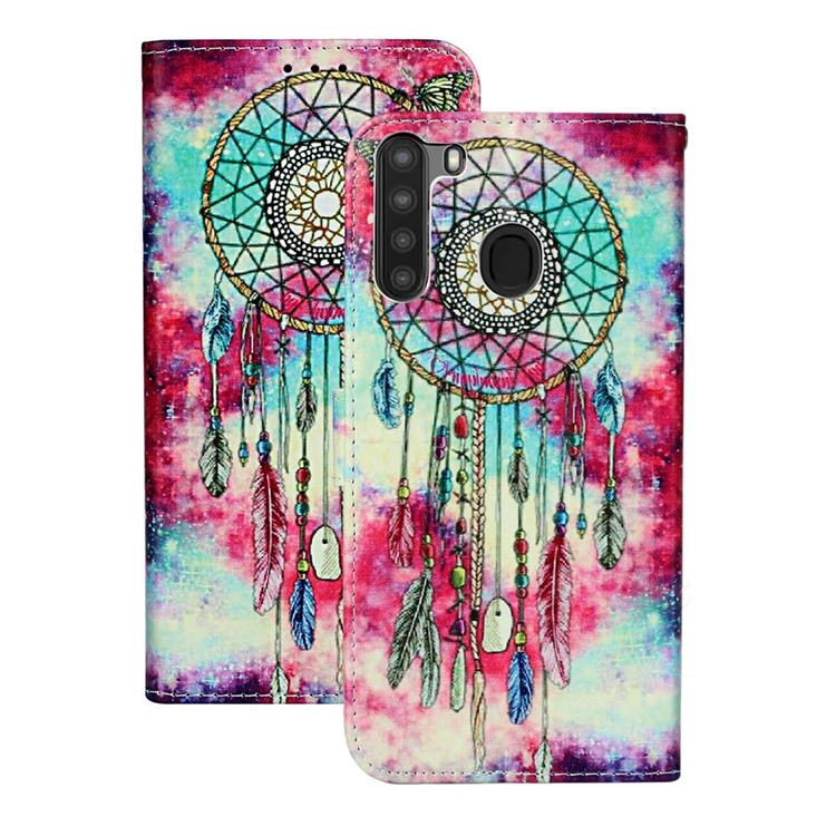 Butterfly Chimes PU Leather Wallet Case for Samsung Galaxy A21