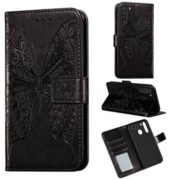 Intricate Embossing Vivid Butterfly Leather Wallet Case for Samsung Galaxy A21 - Black