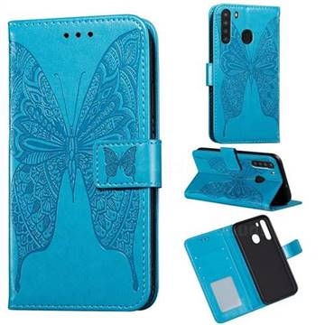 Intricate Embossing Vivid Butterfly Leather Wallet Case for Samsung Galaxy A21 - Blue