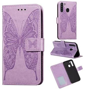 Intricate Embossing Vivid Butterfly Leather Wallet Case for Samsung Galaxy A21 - Purple