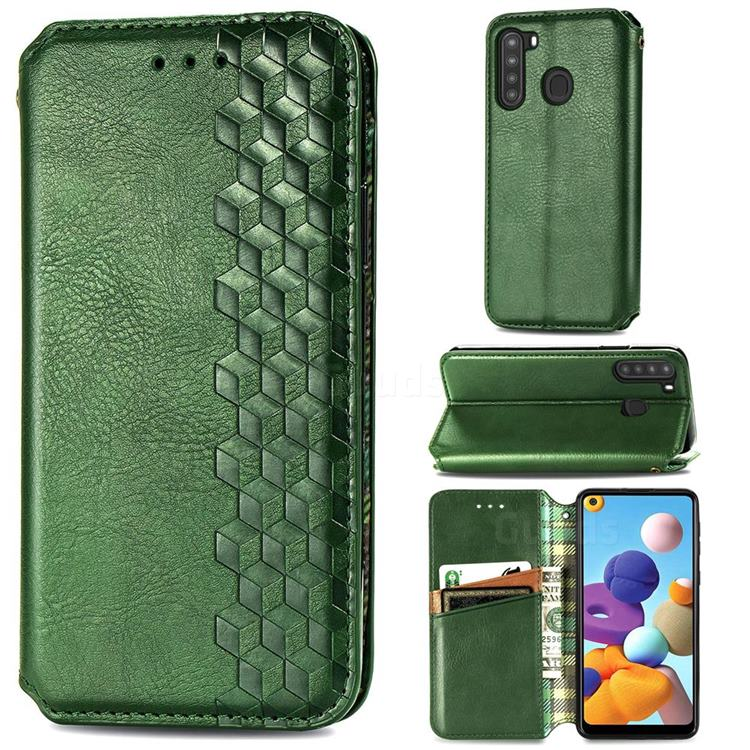 Ultra Slim Fashion Business Card Magnetic Automatic Suction Leather Flip Cover for Samsung Galaxy A21 - Green