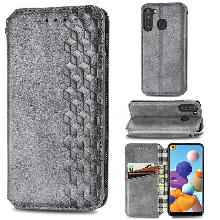 Ultra Slim Fashion Business Card Magnetic Automatic Suction Leather Flip Cover for Samsung Galaxy A21 - Grey