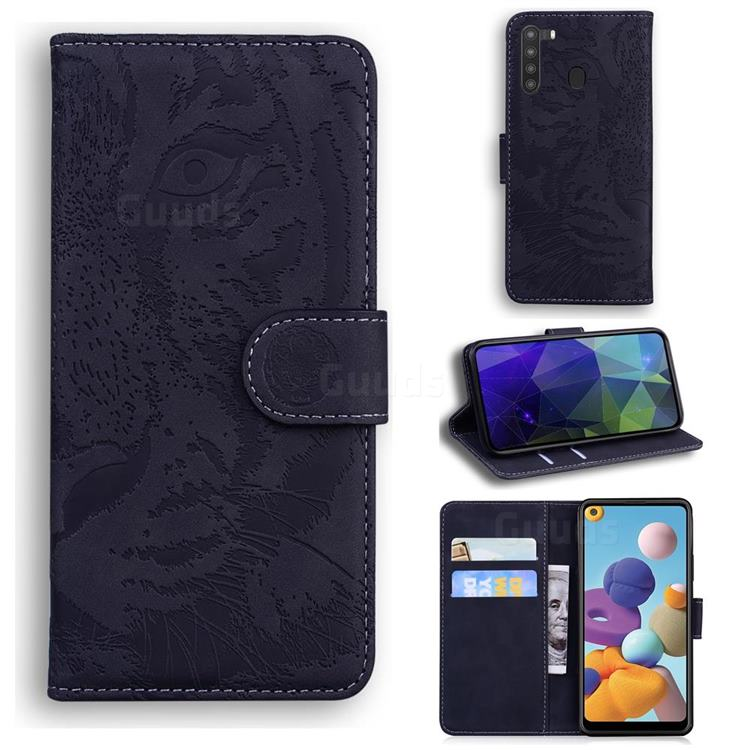 Intricate Embossing Tiger Face Leather Wallet Case for Samsung Galaxy A21 - Black