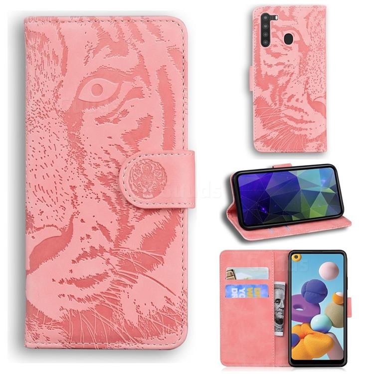 Intricate Embossing Tiger Face Leather Wallet Case for Samsung Galaxy A21 - Pink