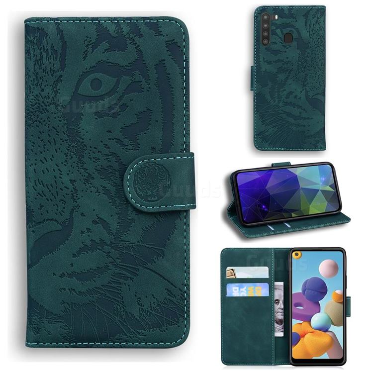 Intricate Embossing Tiger Face Leather Wallet Case for Samsung Galaxy A21 - Green