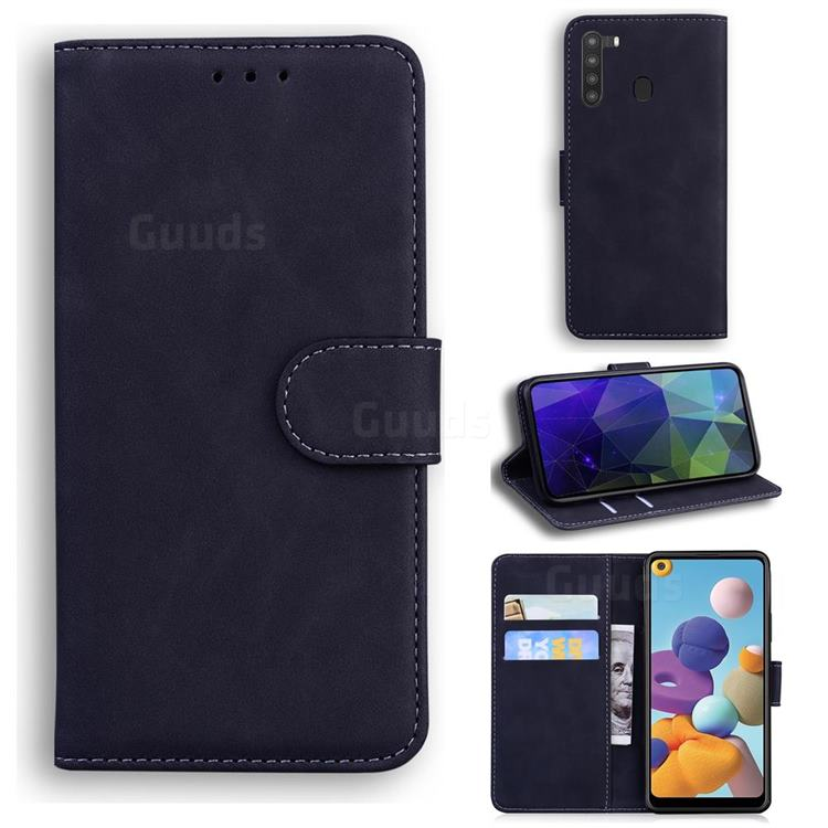 Retro Classic Skin Feel Leather Wallet Phone Case for Samsung Galaxy A21 - Black