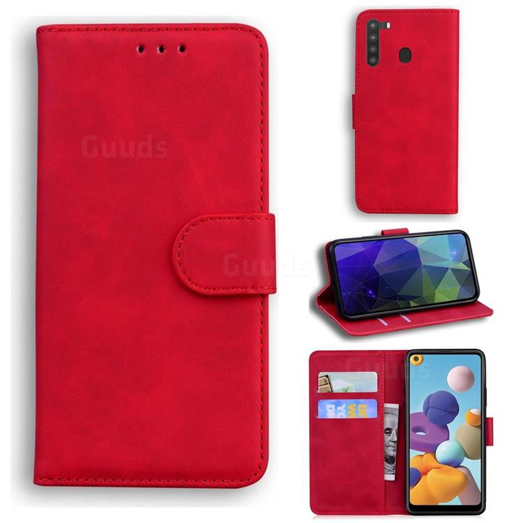 Retro Classic Skin Feel Leather Wallet Phone Case for Samsung Galaxy A21 - Red