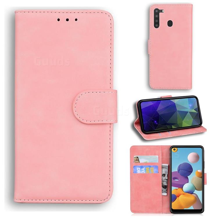 Retro Classic Skin Feel Leather Wallet Phone Case for Samsung Galaxy A21 - Pink