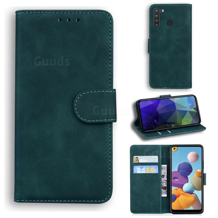 Retro Classic Skin Feel Leather Wallet Phone Case for Samsung Galaxy A21 - Green