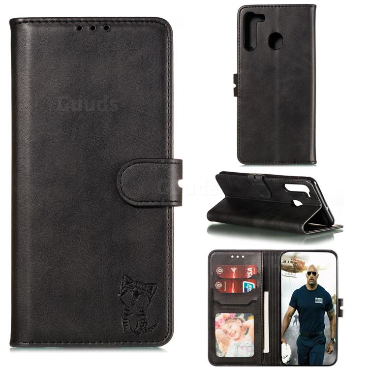 Embossing Happy Cat Leather Wallet Case for Samsung Galaxy A21 - Black