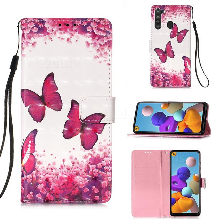 Rose Butterfly 3D Painted Leather Wallet Case for Samsung Galaxy A21