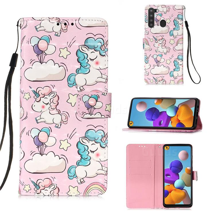 Angel Pony 3D Painted Leather Wallet Case for Samsung Galaxy A21
