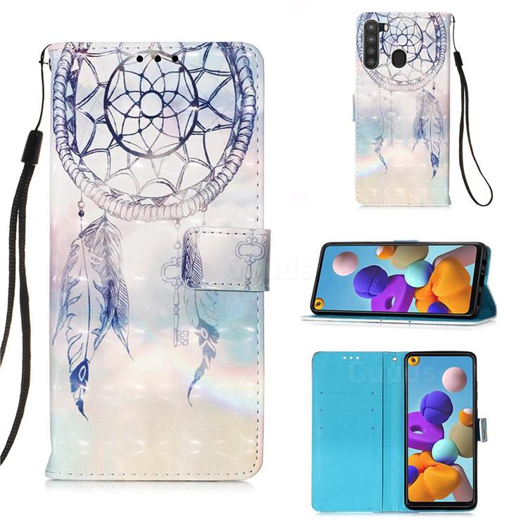 Fantasy Campanula 3D Painted Leather Wallet Case for Samsung Galaxy A21