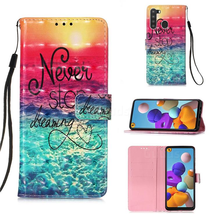 Colorful Dream Catcher 3D Painted Leather Wallet Case for Samsung Galaxy A21