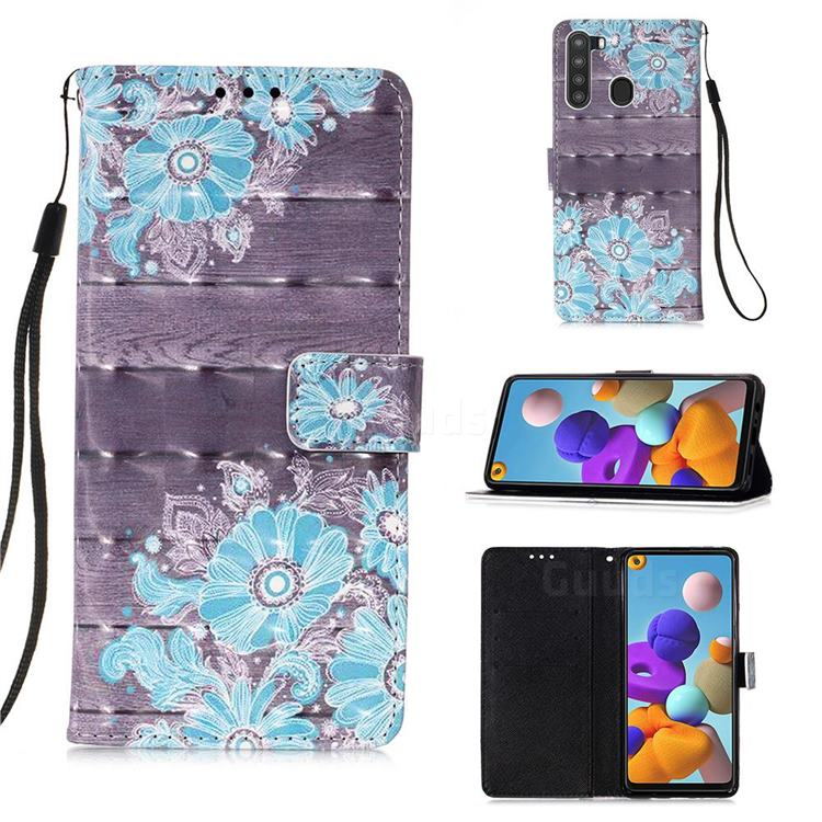 Blue Flower 3D Painted Leather Wallet Case for Samsung Galaxy A21