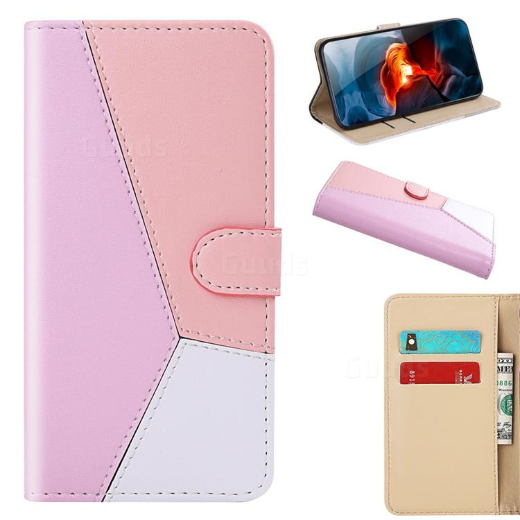 Tricolour Stitching Wallet Flip Cover for Samsung Galaxy A21 - Pink