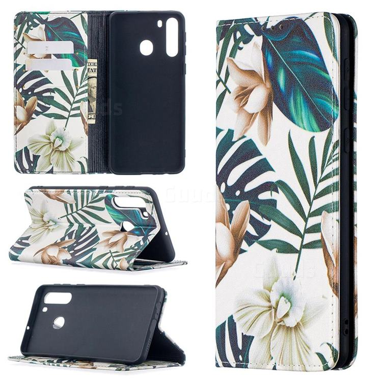 Flower Leaf Slim Magnetic Attraction Wallet Flip Cover for Samsung Galaxy A21