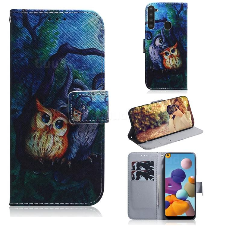 Oil Painting Owl PU Leather Wallet Case for Samsung Galaxy A21