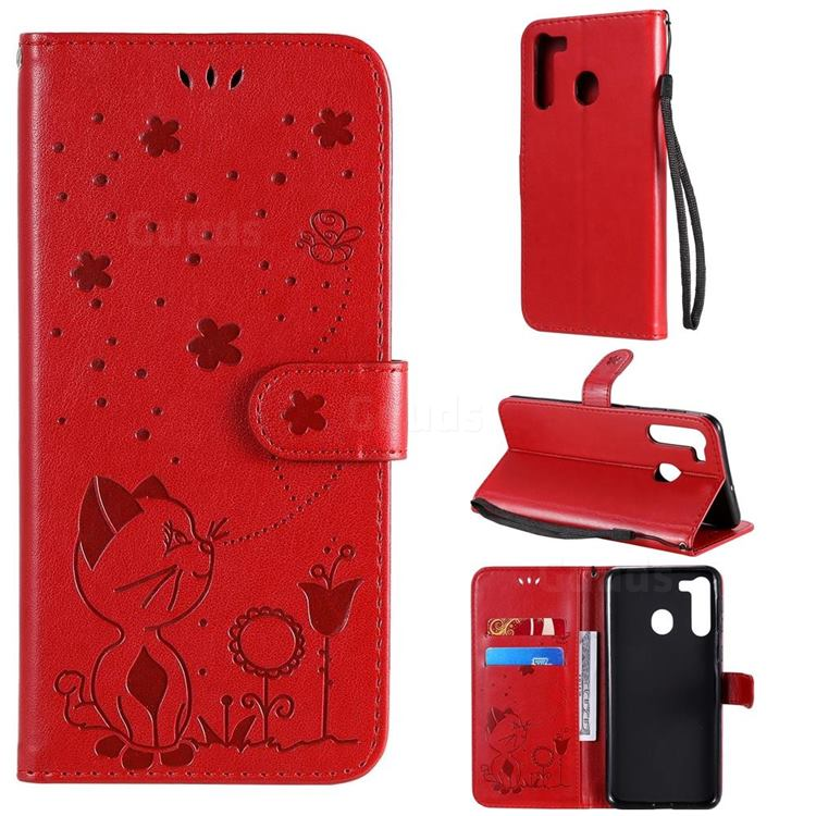 Embossing Bee and Cat Leather Wallet Case for Samsung Galaxy A21 - Red