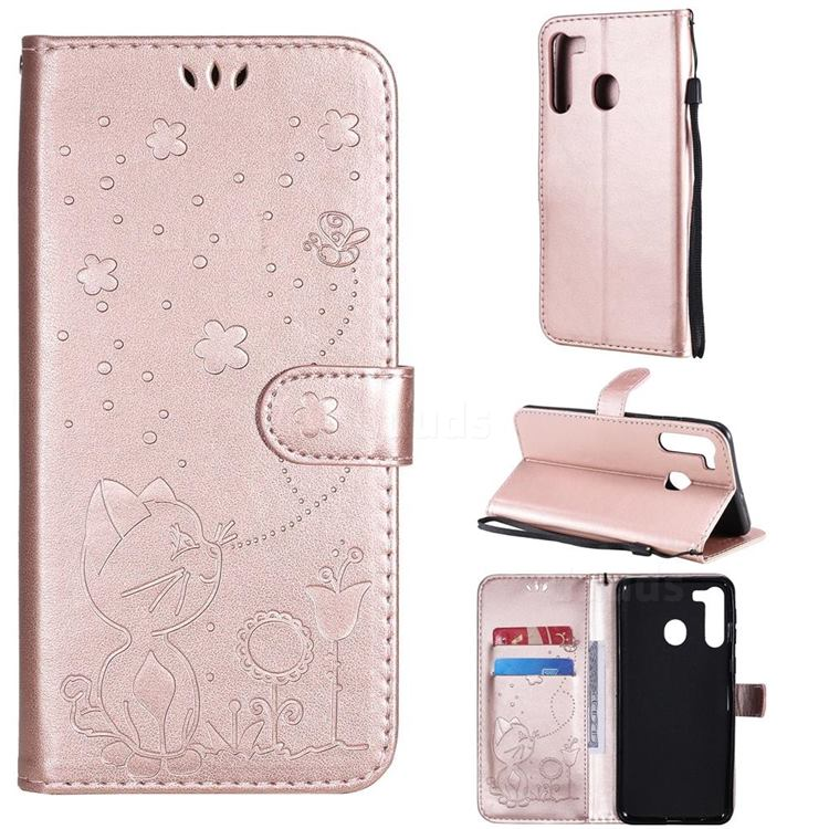 Embossing Bee and Cat Leather Wallet Case for Samsung Galaxy A21 - Rose Gold