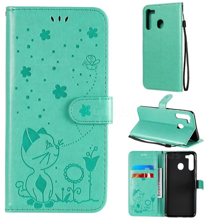 Embossing Bee and Cat Leather Wallet Case for Samsung Galaxy A21 - Green