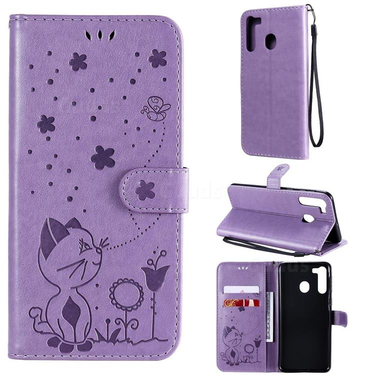 Embossing Bee and Cat Leather Wallet Case for Samsung Galaxy A21 - Purple