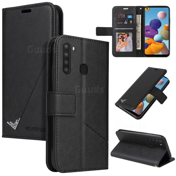 GQ.UTROBE Right Angle Silver Pendant Leather Wallet Phone Case for Samsung Galaxy A21 - Black