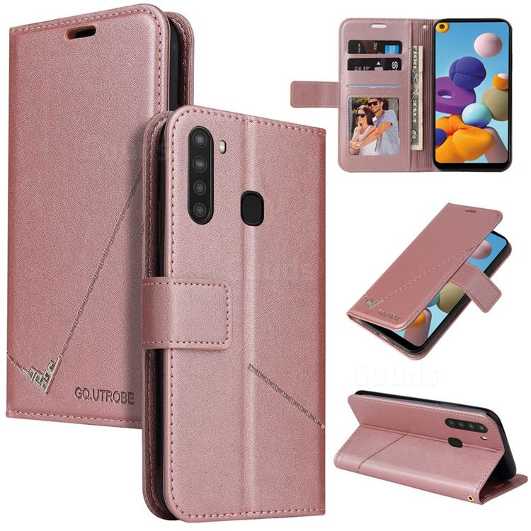 GQ.UTROBE Right Angle Silver Pendant Leather Wallet Phone Case for Samsung Galaxy A21 - Rose Gold