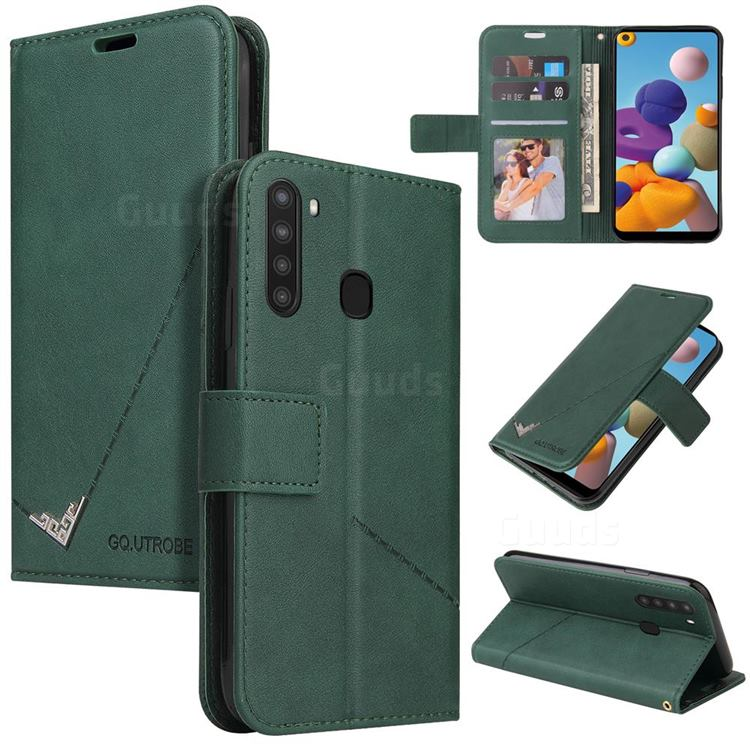 GQ.UTROBE Right Angle Silver Pendant Leather Wallet Phone Case for Samsung Galaxy A21 - Green