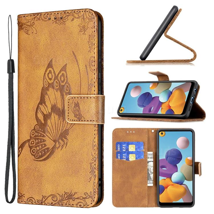 Binfen Color Imprint Vivid Butterfly Leather Wallet Case for Samsung Galaxy A21 - Brown