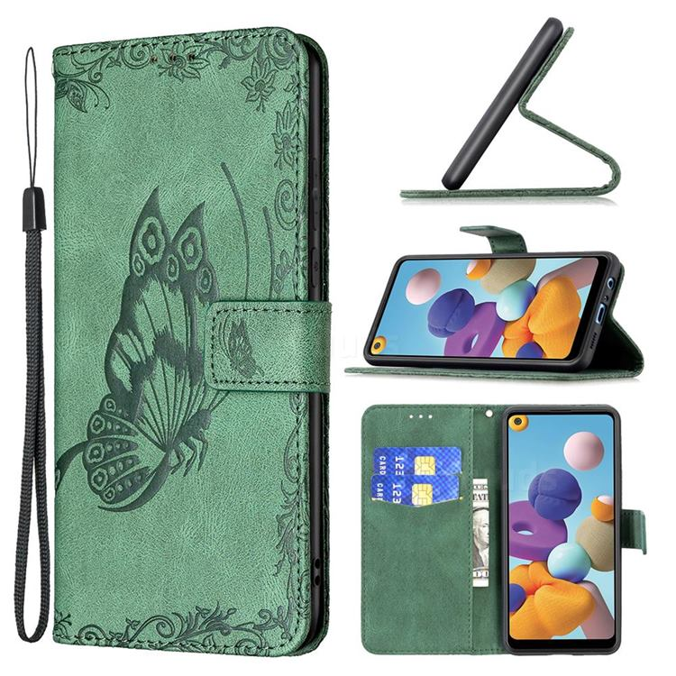Binfen Color Imprint Vivid Butterfly Leather Wallet Case for Samsung Galaxy A21 - Green