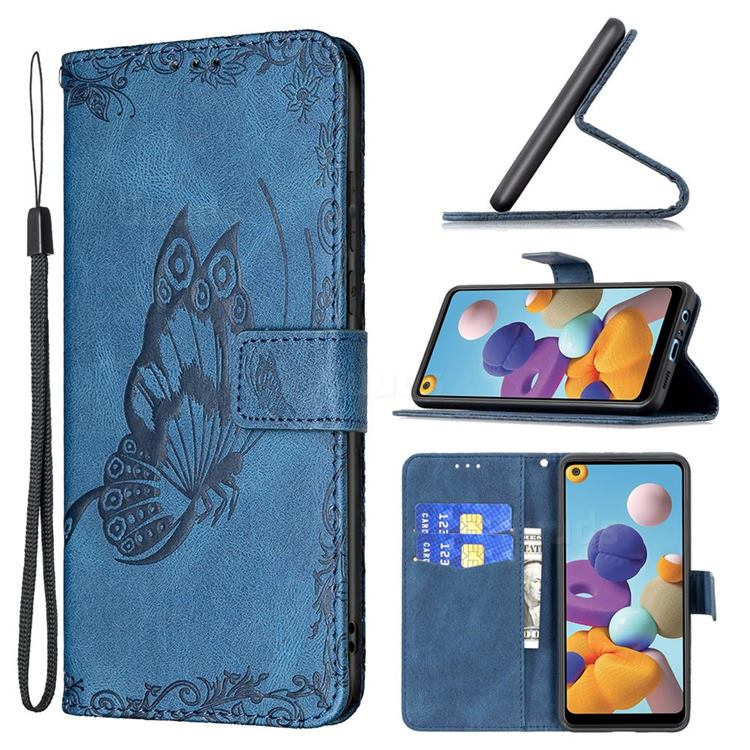 Binfen Color Imprint Vivid Butterfly Leather Wallet Case for Samsung Galaxy A21 - Blue