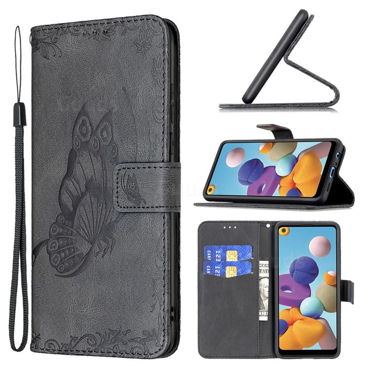 Binfen Color Imprint Vivid Butterfly Leather Wallet Case for Samsung Galaxy A21 - Black