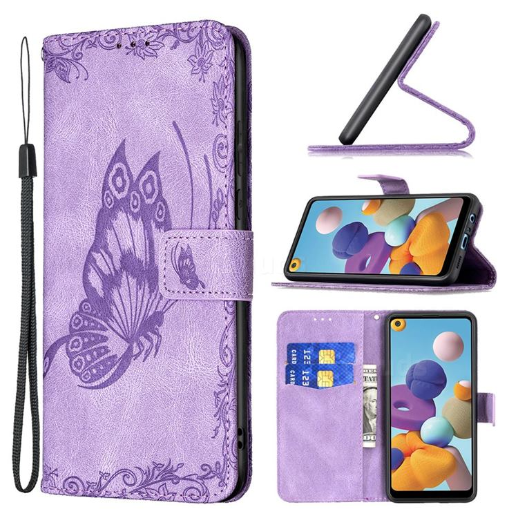 Binfen Color Imprint Vivid Butterfly Leather Wallet Case for Samsung Galaxy A21 - Purple