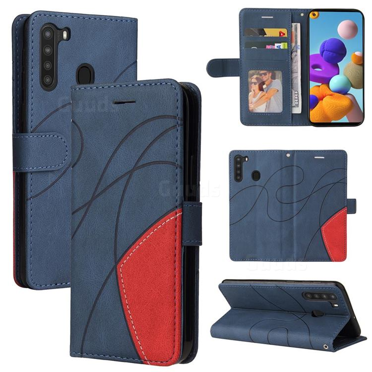 Luxury Two-color Stitching Leather Wallet Case Cover for Samsung Galaxy A21 - Blue