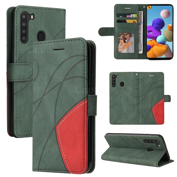 Luxury Two-color Stitching Leather Wallet Case Cover for Samsung Galaxy A21 - Green